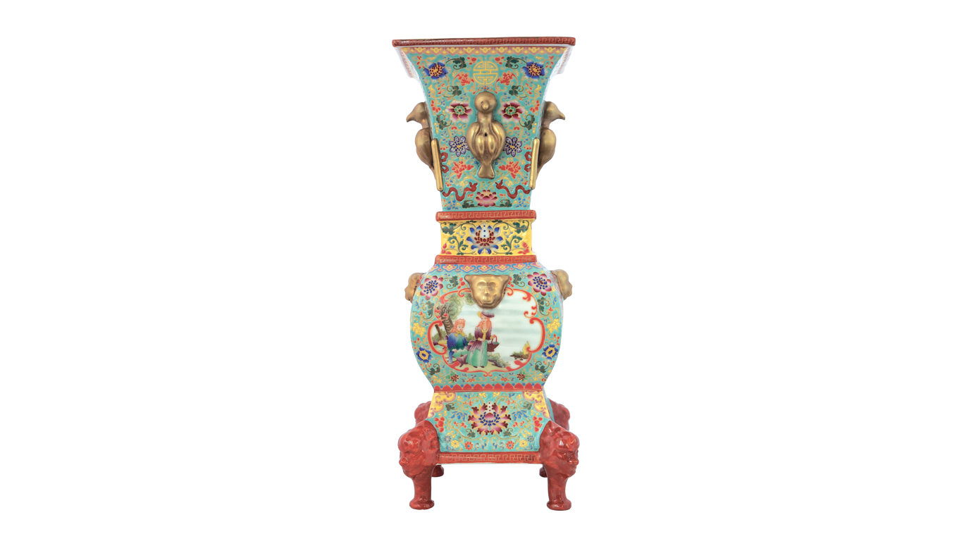 Wucai Solitary Vase Designed with Window, Flower, Character Story, with Human Foot and Animal Ear