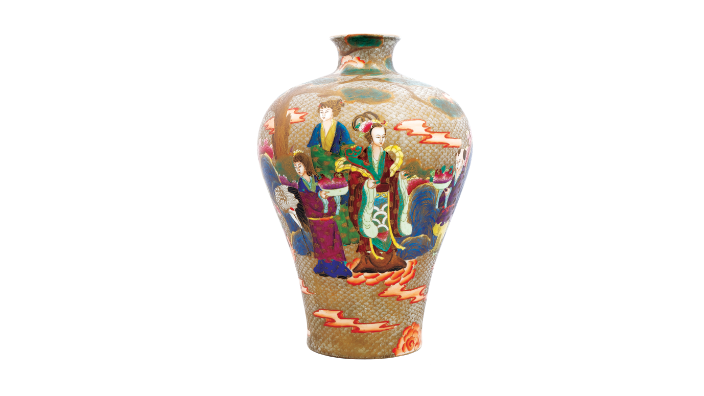 Modern Meiping Vase in Fa-Lang-Tsai Enamels with Figures