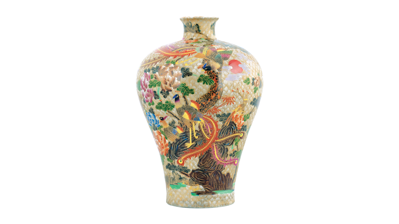 Meiping with Traditional Chinese Phoenix and Flower Pattern
